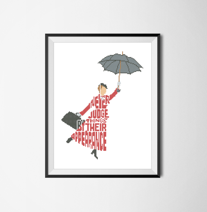 #141 Quote fairy tale Mary Poppins Modern Cross Stitch Pattern, Mary Poppins