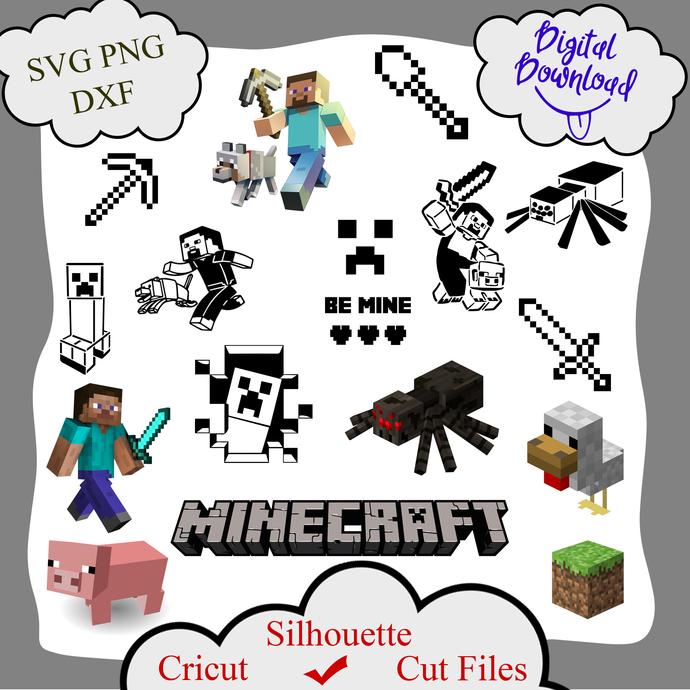 Minecraft Bundle, Steve Pig Creeper Spider Stencil Be mine svg, Bark svg,