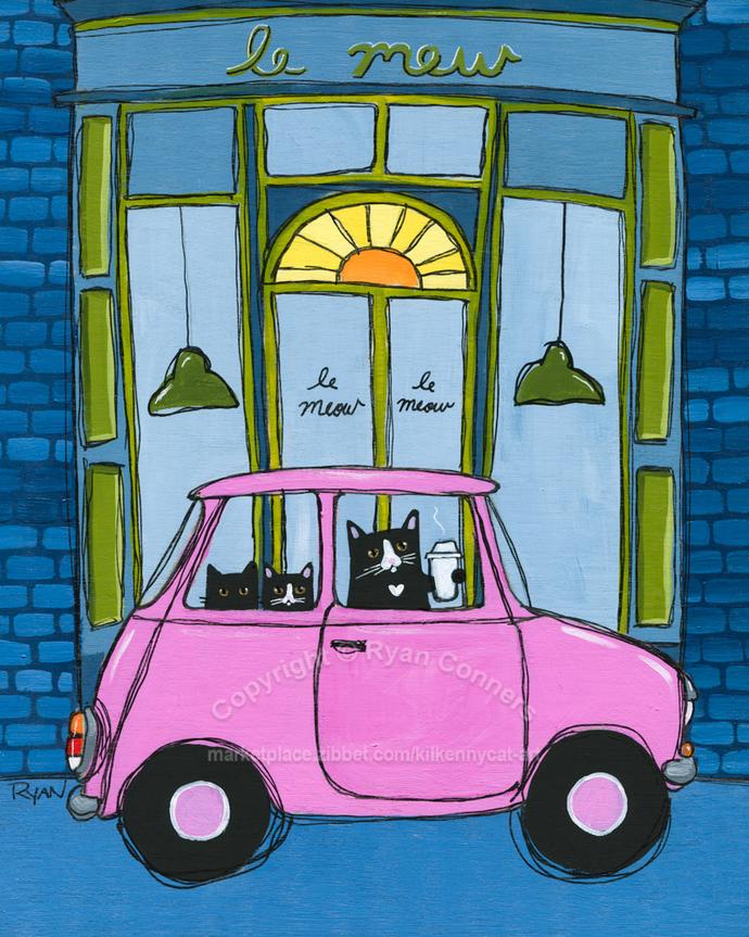 Coffee to Go Original Whimsical Cat Folk Art Painting