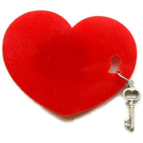 Locksmith Heart Brooch,Plexiglass Pin,Lasercut Acrylic,Gifts Under 25