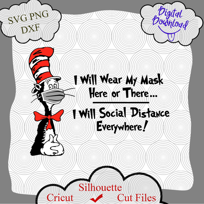 Cat in the hat mask svg, Cat in hat svg, face mask svg, Inspired Cutting Files,