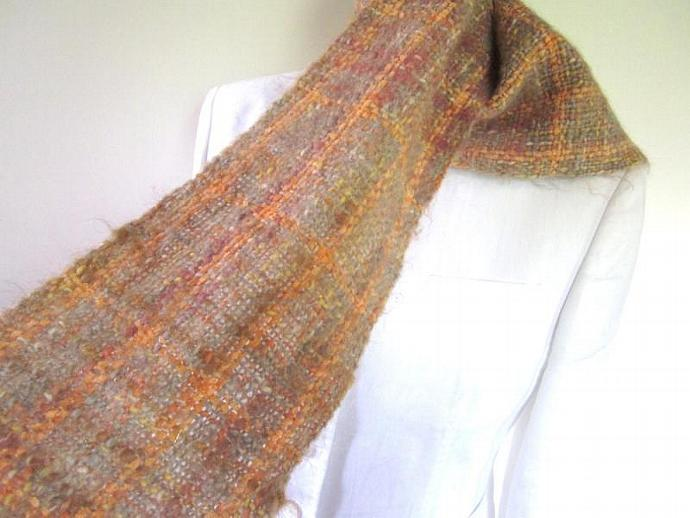 Designer Handwoven Mohair and Chenille Scarf