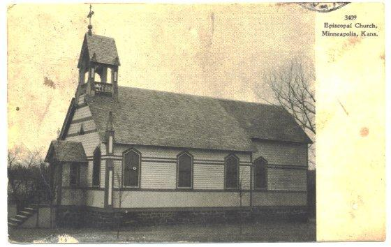 Minneapolis Kansas Postcard Episcopal Church Vintage 1910s View