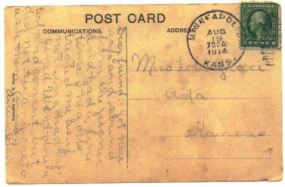 Minneapolis Kansas Postcard High Waters Vintage 1910s Town View