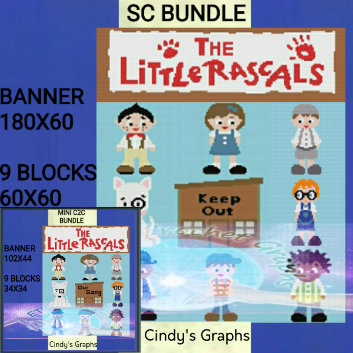 The Little Rascals SC & Mini C2C inludes graphs with color block instructions