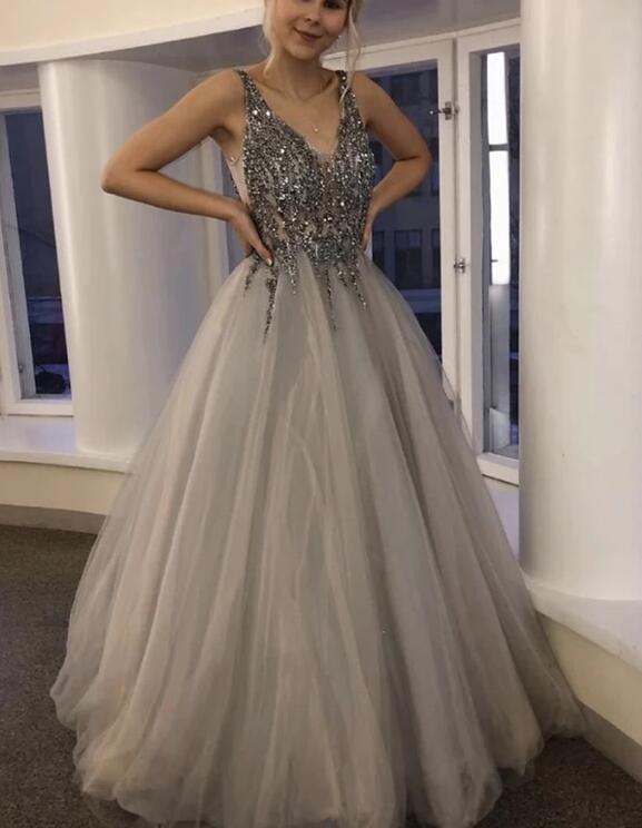 Beautiful Grey Beaded V-neckline Tulle Long Prom Dress, Light Grey Party Dress