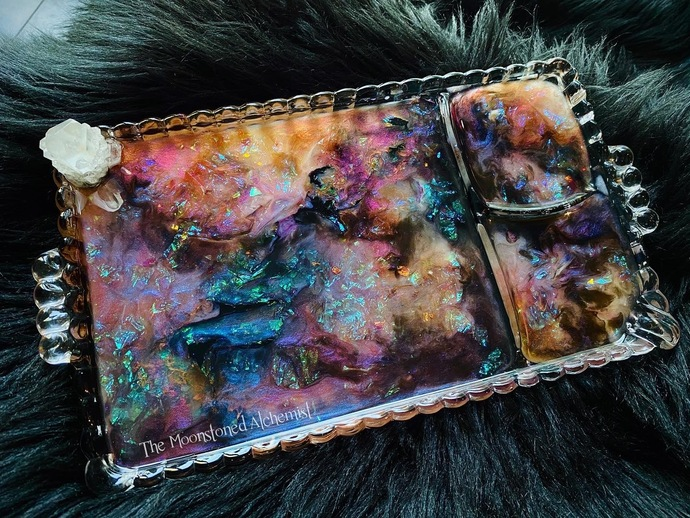 Crystallized Glow in the dark Opalescent Rolling Vanity Tray