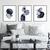 Scandinavian abstract, Printable Art set of 3, Art Poster mid century navy,