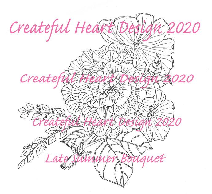 Late Summer Bouquet, digital image, craft supply, floral, flowers, digital stamp