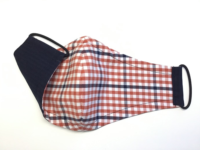 Face Mask - Navy & Orange Check with Navy Solid (Reversible)
