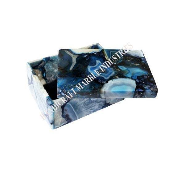 Blue Agate Box for Jewelry/Dry Fruit/Mouth Freshener Home Decor Gift Table Decor