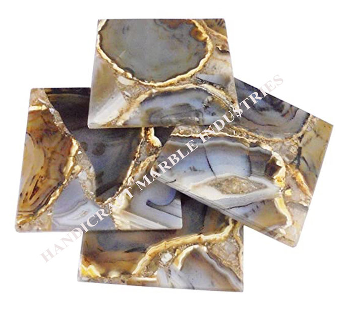 Agate Coaster #4 Dark Brown design Color Coaster Gold Plated Wholesale Price