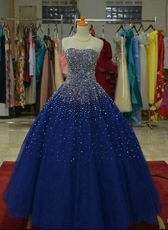 Blue Sparkle Long Prom Dress, Ball Gown Sequins Blue Party Dress, Blue Sweet 16