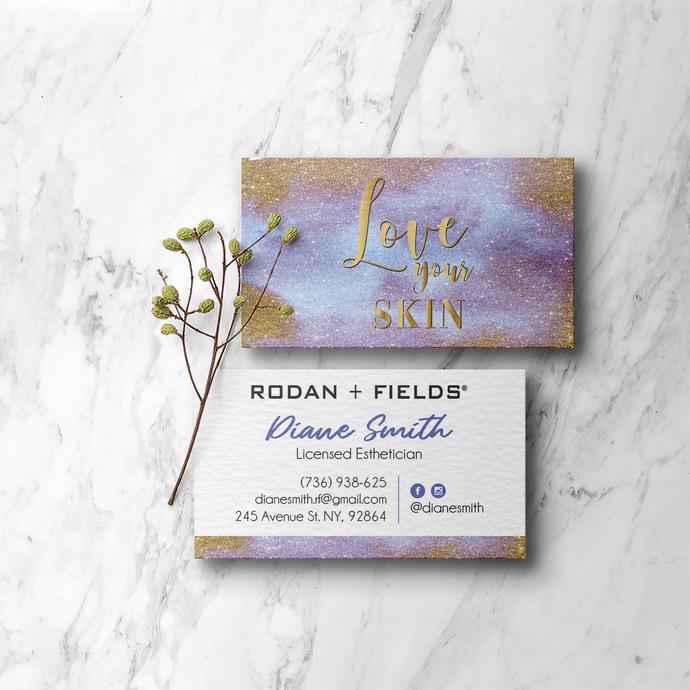 Glitter Gold Rodan & Fields Business Cards, Personalized Rodan & Fields Cards