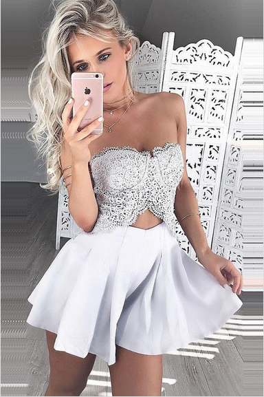 Sweetheart A-Line Homecoming Dresses,Short Prom Dresses,Cheap Homecoming