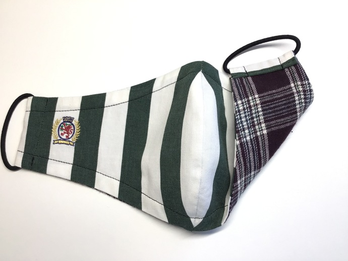 Face Mask - Vintage '90's Tommy Hilfiger Green & White Awning Stripe with Plaid