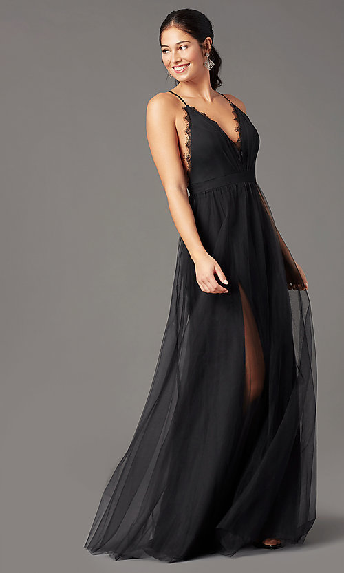Black Prom Dress,A-Line Prom Gown,V-Neck Evening Dress,Tulle Prom Gown 0241