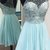 Light Blue Chiffon Beaded Halter Knee Length Party Dress, Short Homecoming Dress
