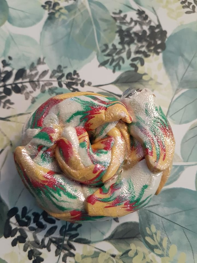 Red, Yellow, Green, and White Dragon Tail Pendant