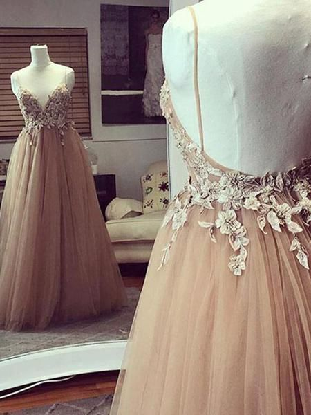 Sexy Backless Spaghetti Straps Lace Beaded Long Evening Prom Dresses  M3821