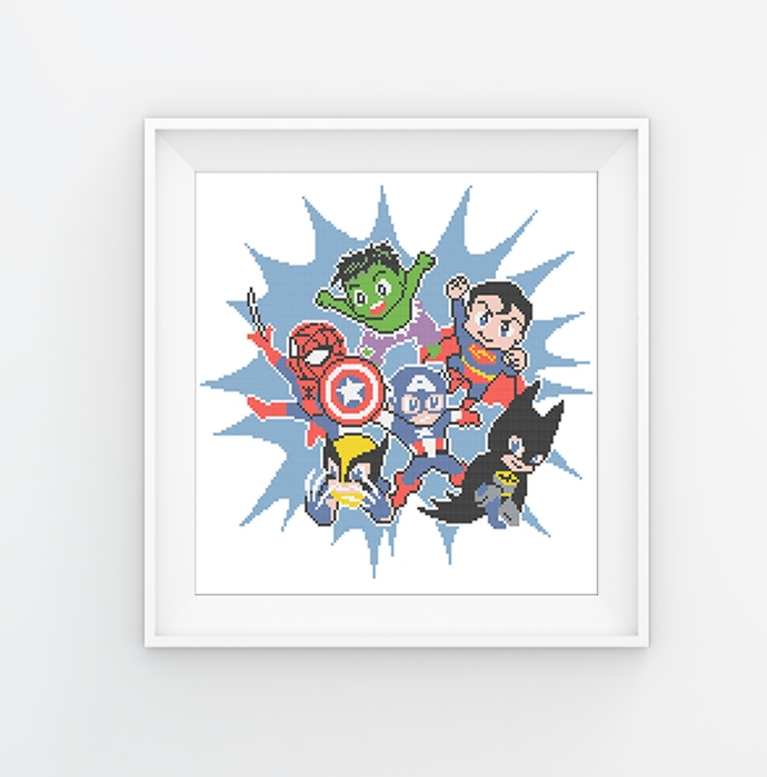 #115 Characters comics Superhero Modern Cross Stitch Pattern, explosion
