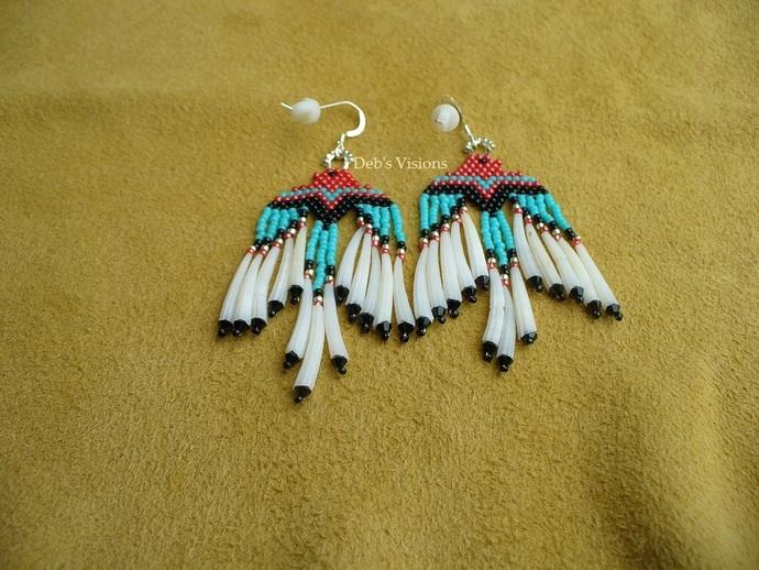 "Native American Style ""Thunderbird earrings with Dentalium shell fringes """
