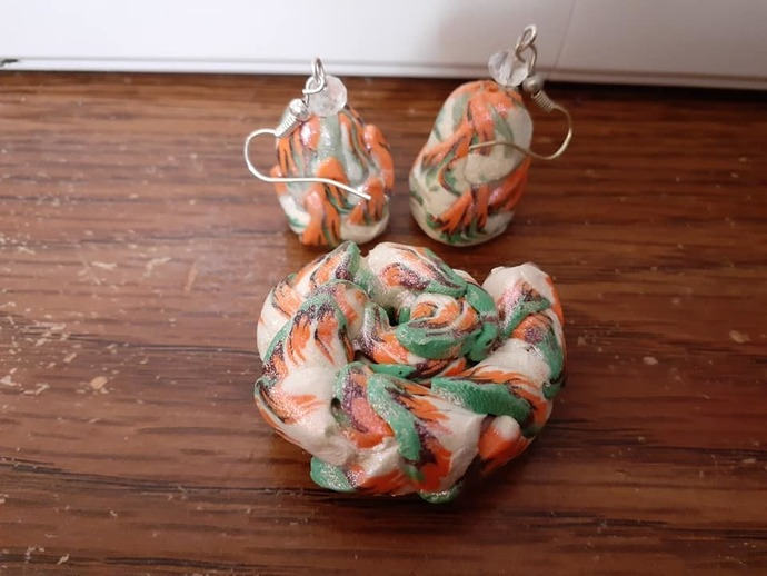 Green, Orange Copper, and White Dragon Tail Set