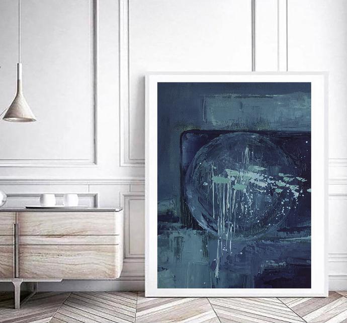 Digital print, blue wall art abstract, large affordable wall art , navy blue