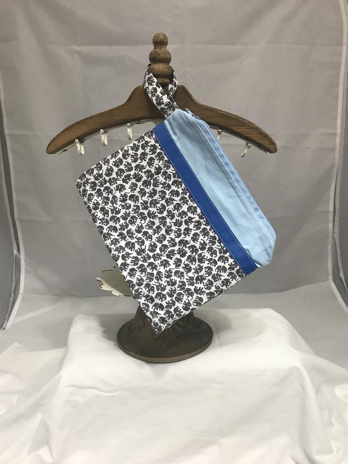 Blue Elephant Fully-Lined Zippered Bag
