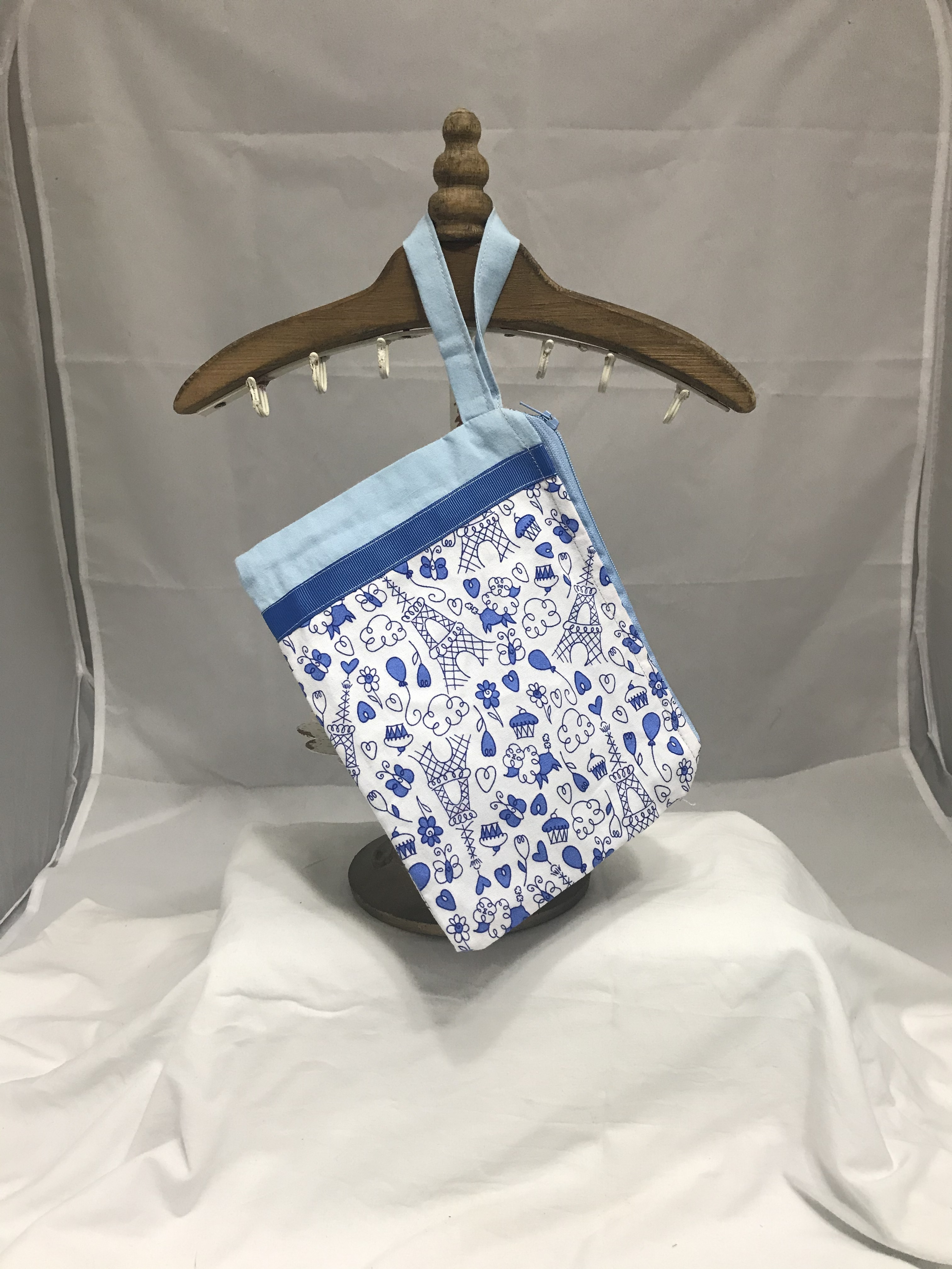 Blue French Doodle Fully-Lined Zippered Bag