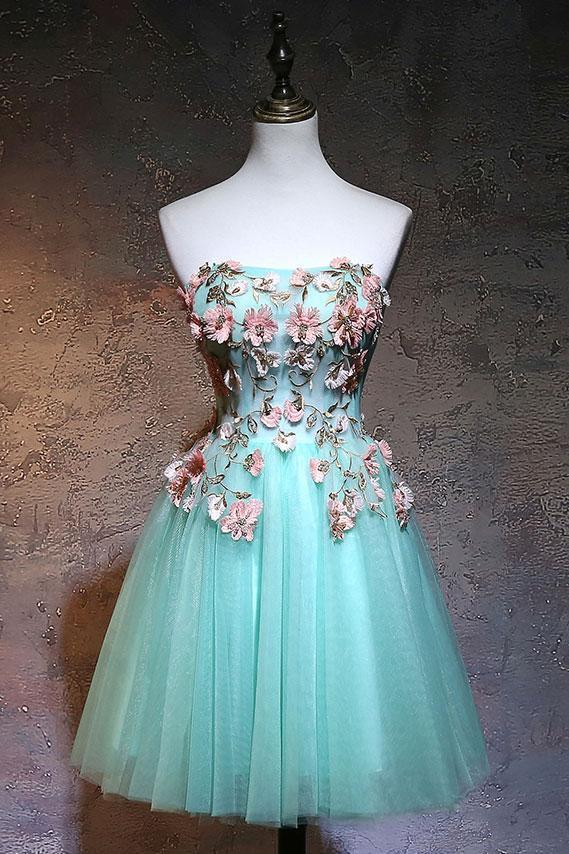 Cute Tulle Short Sweetheart Mint Green Party Dress, Homecoming Dresses