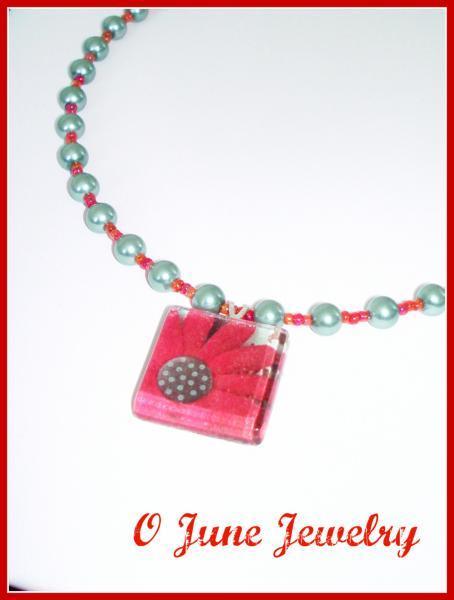Crafty Daisy Glass Tile Pendant Beaded Necklace