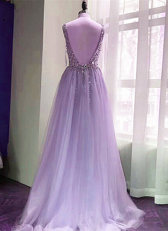 Gorgeous Tulle Sparkle Long Party Dress, Backless Long New Prom Dress 2021