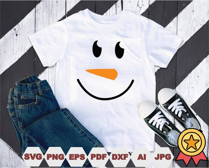 Snowman face Svg, Cut Files, Vector, Digital File, Svg,Snowman face t-shirt,