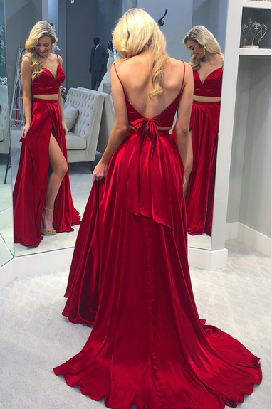 Two Pieces Satin A-Line Prom Dresses,Long Prom Dresses,Cheap Prom Dresses,