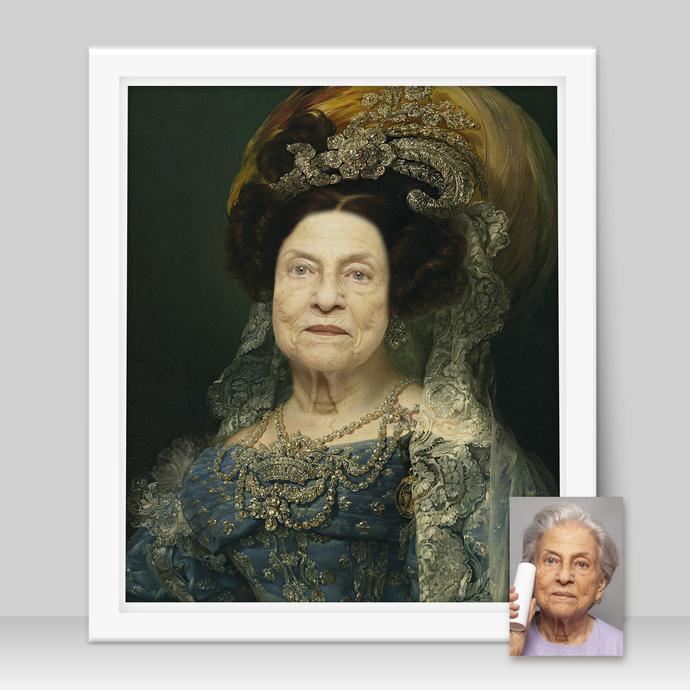 Grandma Gift Personalized, Historical Portrait from Photo, Custom Grandma