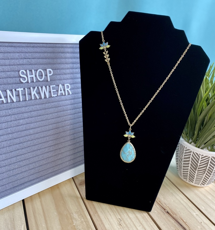 Long Gold and Turquoise Necklace