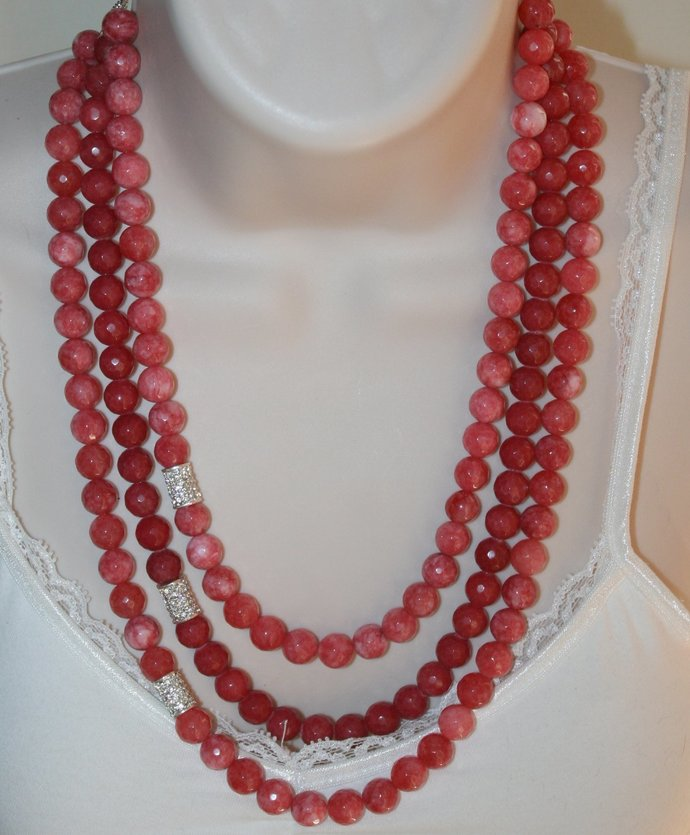 Red Fire Agate Statement Necklace, Silver Rhinestone Beaded Jewelry, Light Coral