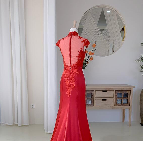 Red Lace Cap Sleeves High Neckline Long Evening Dress, Red Satin Prom Dress