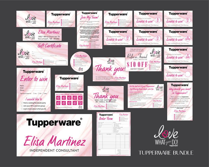 Marble Tupperware Cards, Tupperware Marketing Package, Tupperware Marketing