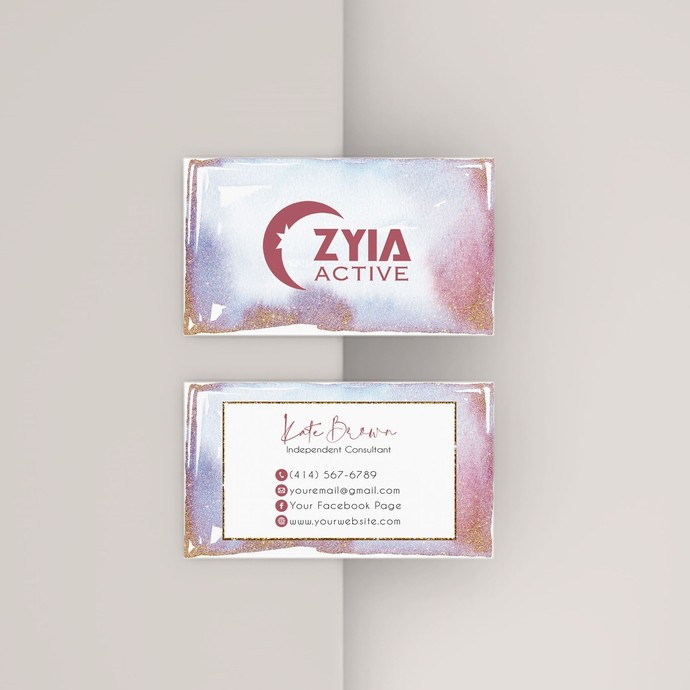 Personalized Zyia Active Business Cards, Watercolor Zyia Independent