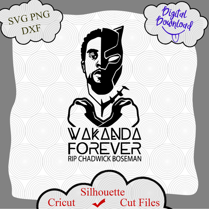 Wakanda Forever Rip Chadwick Boseman Svg Black By Digital4u On Zibbet