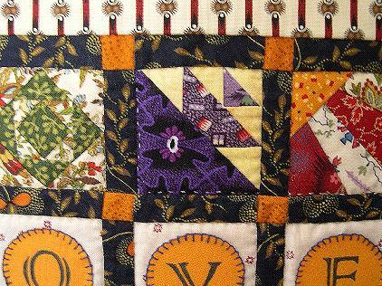 LOVE Sampler Table Topper / Wall Hanging Miniature Quilt
