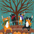 Celebration of Autumn Original Whimsical Cat Folk Art Painting