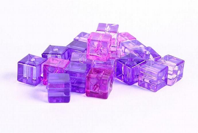 Purple transparent cube resin beads Shades of purples 7mm 20pc (360)