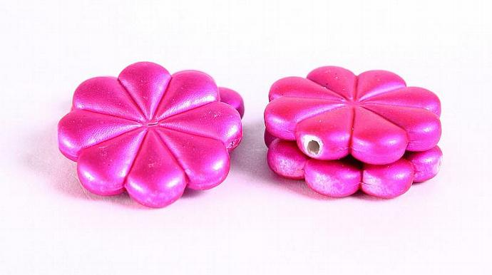 4pc Hot pink rubber flower acrylic resin beads 23mm (367)