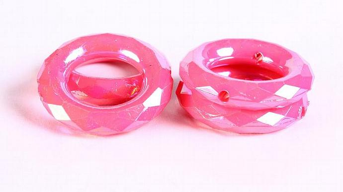 Pink rondelle AB color faceted round acrylic resin beads rondelle beads 35mm 4pc