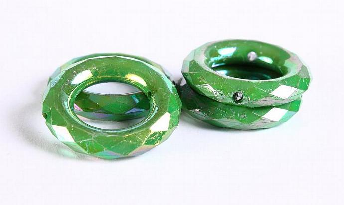 35mm 4pc Green jade peridote AB finish faceted rondelle round acrylic resin