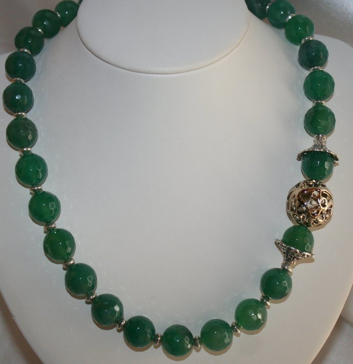 Dark Green Agate Asymmetrical Statement Necklace, Emerald Green Faceted Bead