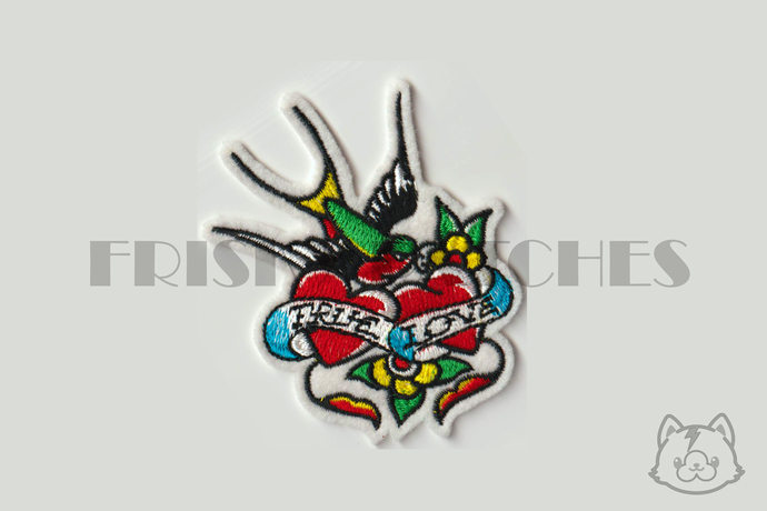 Tattoo Style True Love Sparrow  Iron On Patch